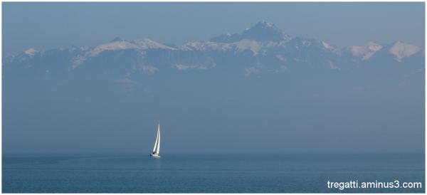 sailboat, lake, mountain