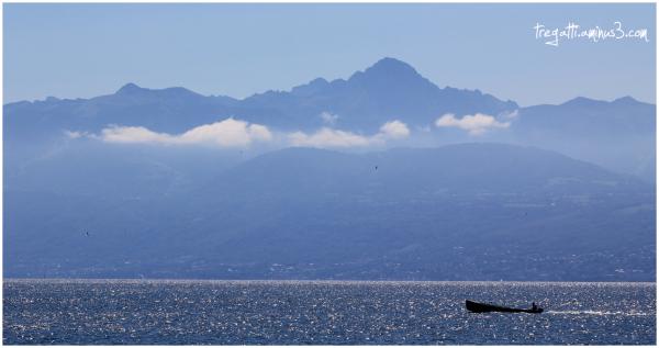 lake, mountains, boat, birds
