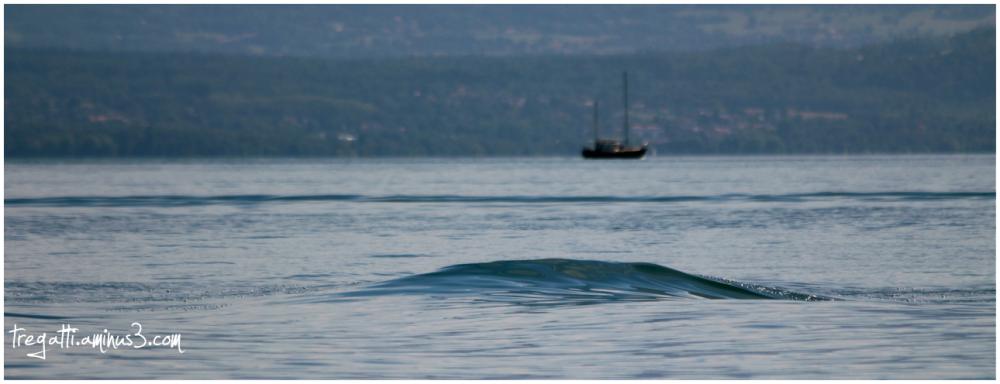 lake, boat, wave