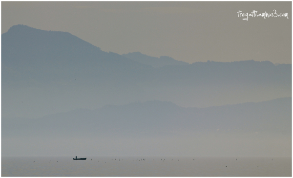 fisherman, lake, mountain, birds