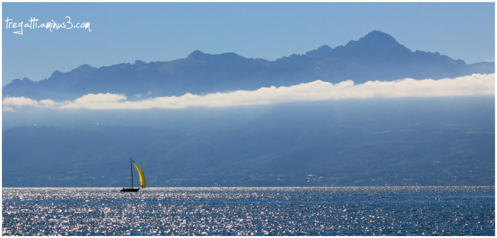 sailboat, lake, mountain, clouds