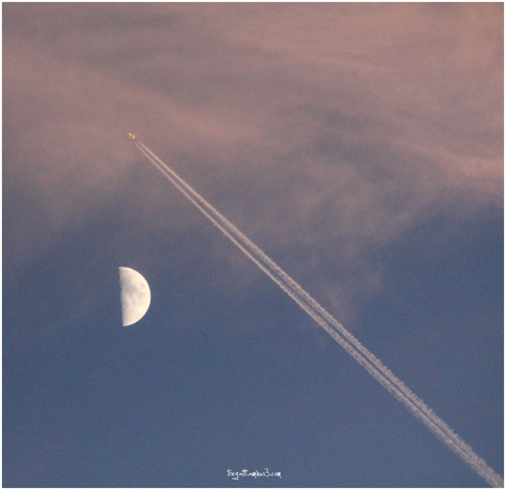 moon, airplane, clouds