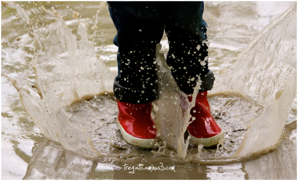 puddle, wellies