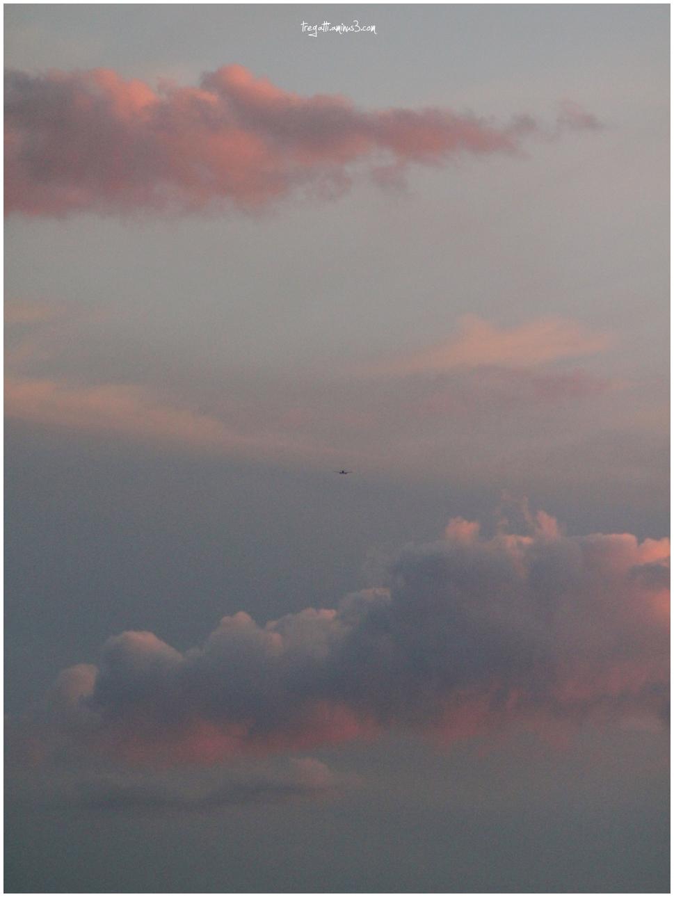 clouds, plane, sunset