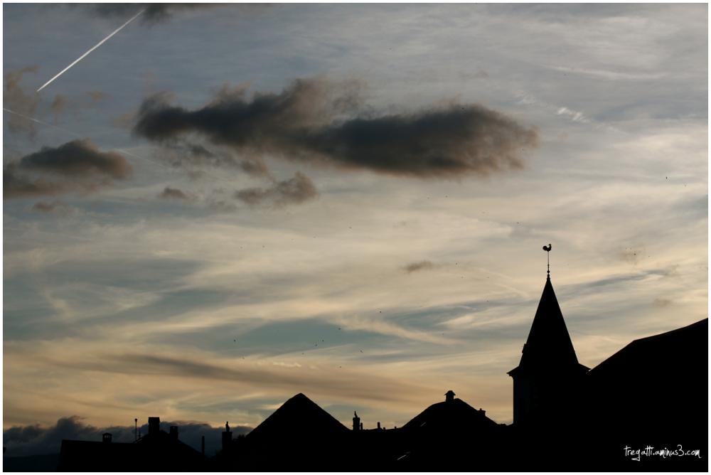 village, rooftops, birds, clouds, sky