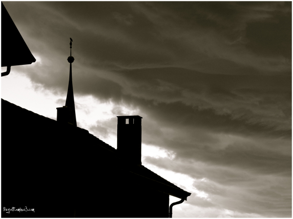 storm, clouds, crow, steeple