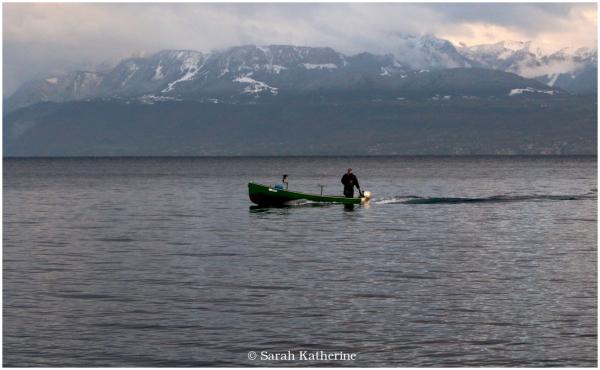 boat, lake autumn mountain snow