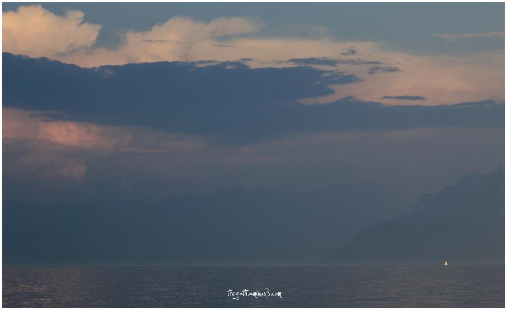 lake, mountains, sailboat