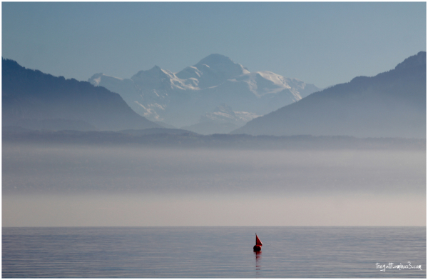 mont Blanc, lake, red buoy