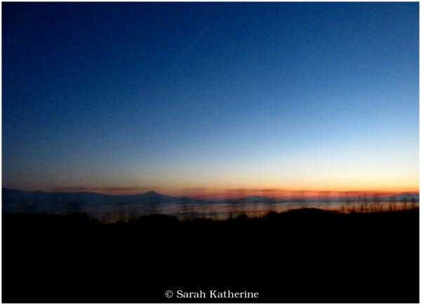 sunset, vineyards, mountains, lake