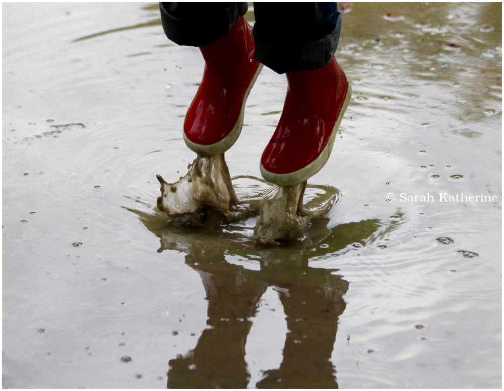 spring, rain, puddle, jump, wellies