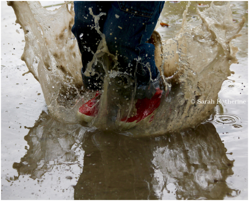 rain, puddle, jump, wellies