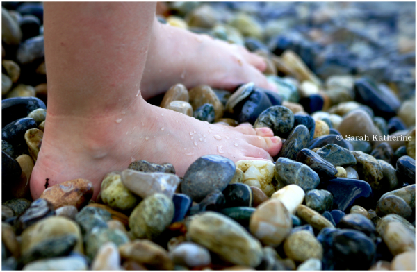 feet, beach, pebbles, lake