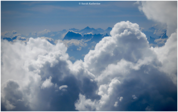 mountains, clouds