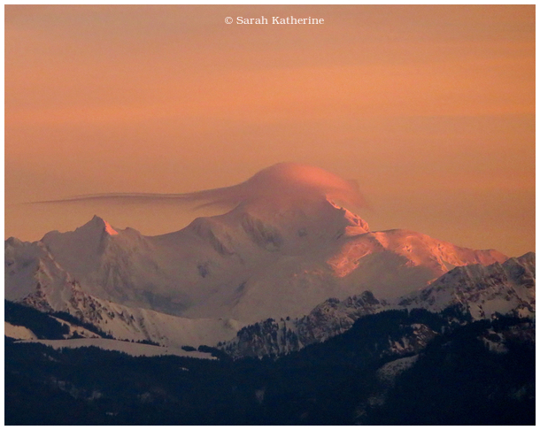 mont blanc, winter, sunset, snow, clouds, moutains