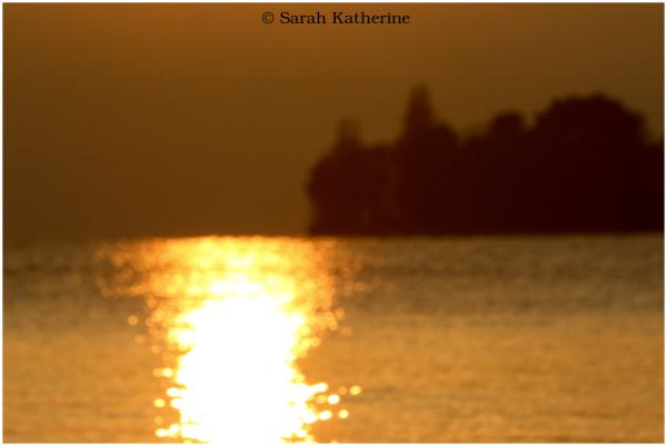 sunset, lake, trees, autumn