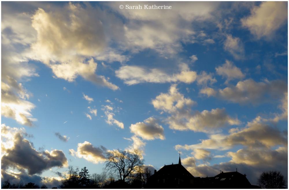 village, priory, tree, sky, clouds