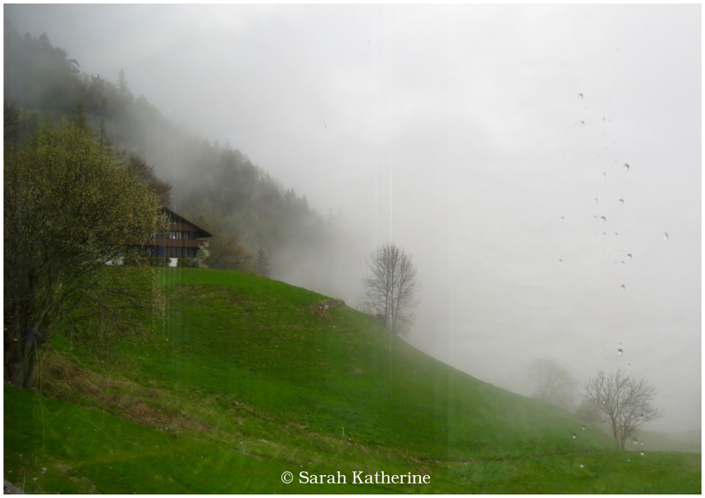 window, mountain, rain, spring, chalet