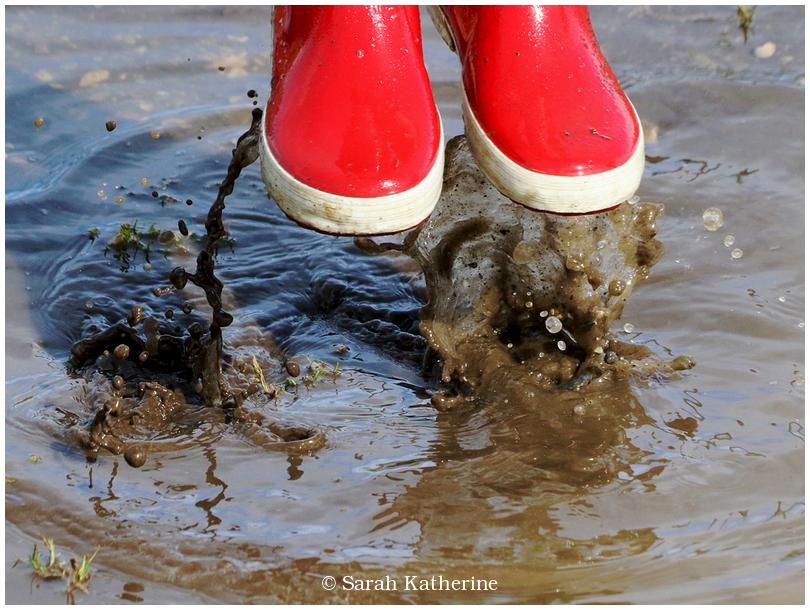 rain. puddle, wellies