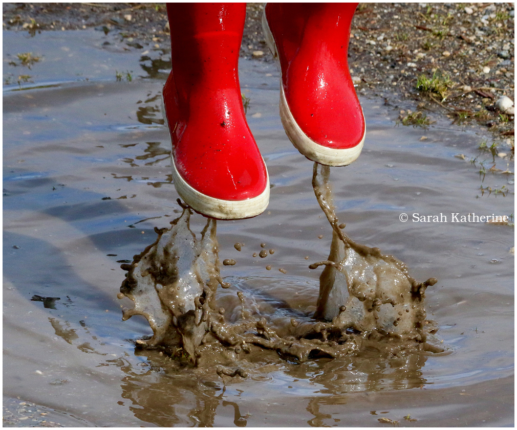 boots, puddle, splash, jump