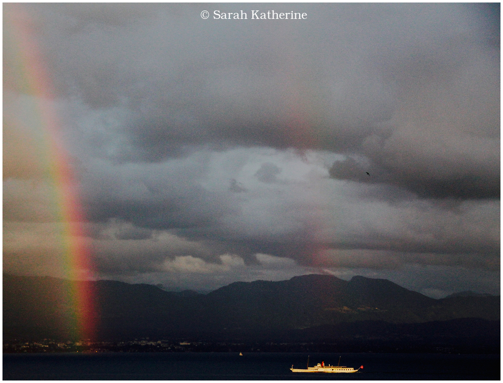 rainbow, lake, boat, bird mountains