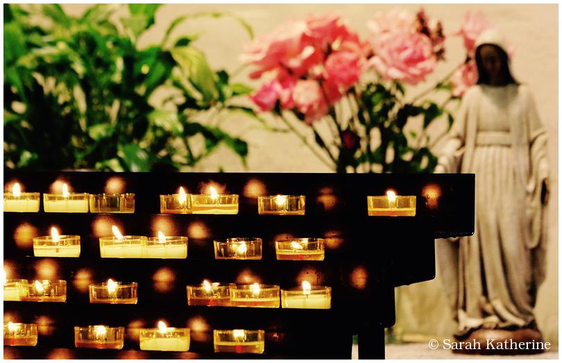 church, candles, statue