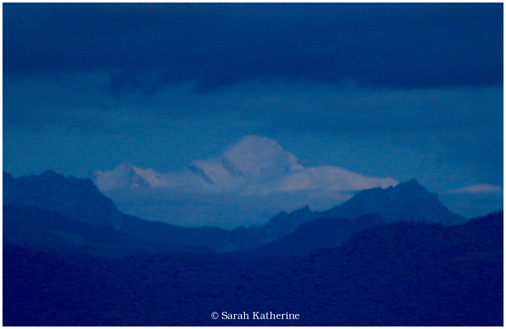 mountain, mont blanc, blue, clouds, night