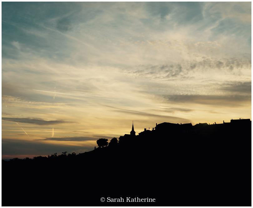 sunset, village, vineyards, church