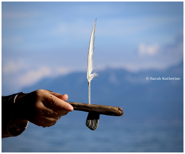 feather, wood, stone, lake, sailboat, hand