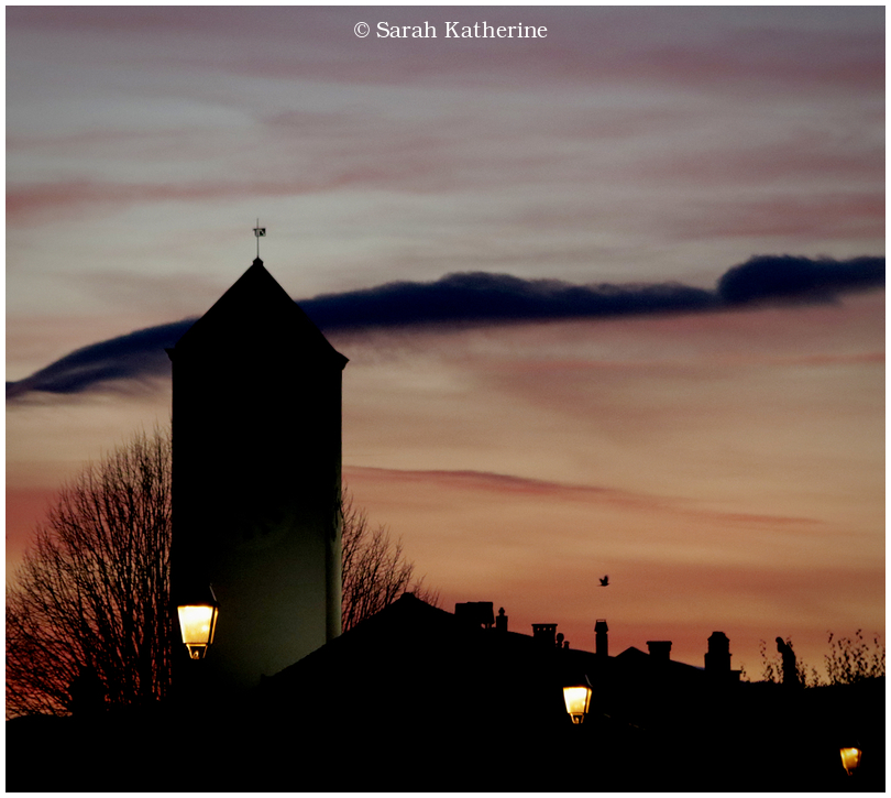 sunset, bird, clocktower, autumn, street lamps