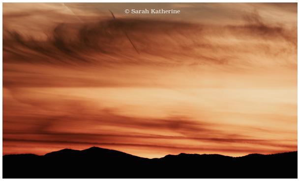 autumn, sunset, mountains, sky, clouds