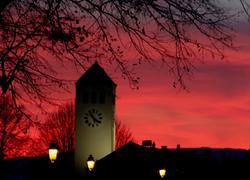 autumn sunset village