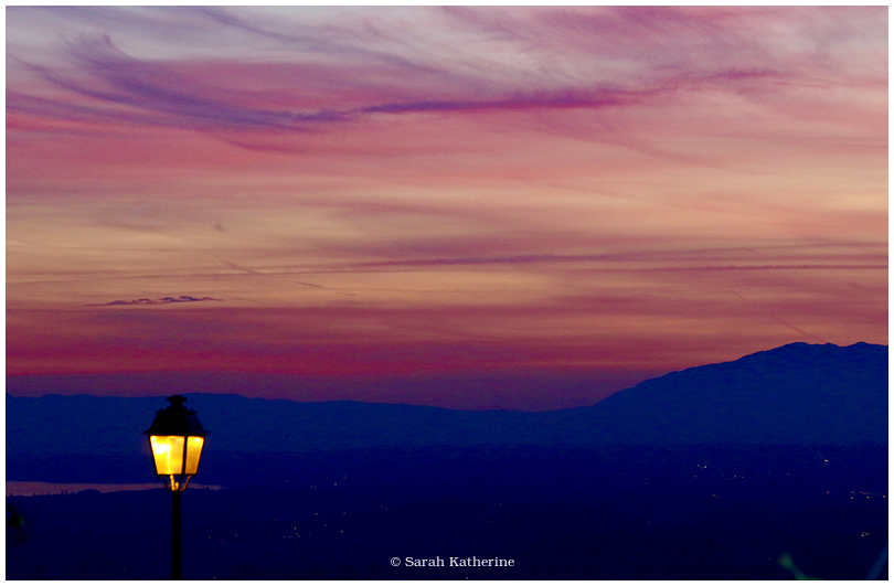sunset, lamp, colour, autumn