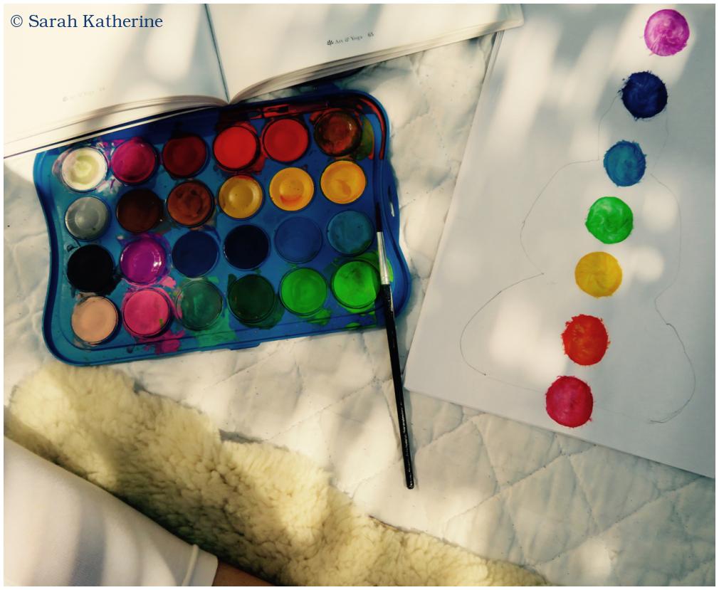 paint, yoga, sheepskin, Kundalini, chakras, art &
