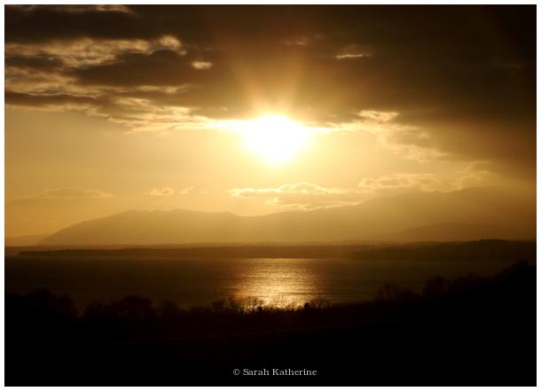 winter, lake, sunset