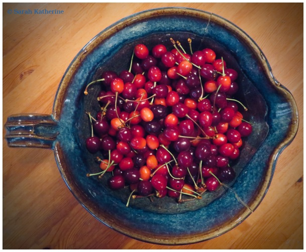 cherries, bowl, spring