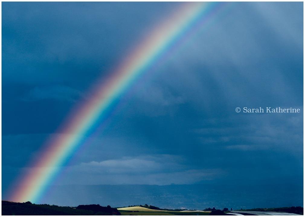 rainbow, lake, spring, sky