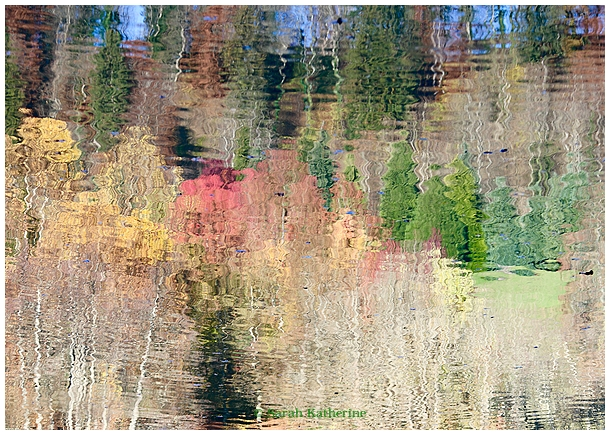 paint, lake, autumnn, reflection, water