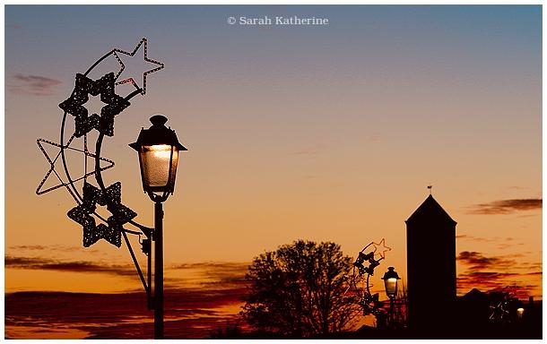 Christmas, holiday, winter, lights, sunset