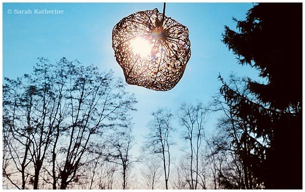 lantern, winter, sky, sun, trees