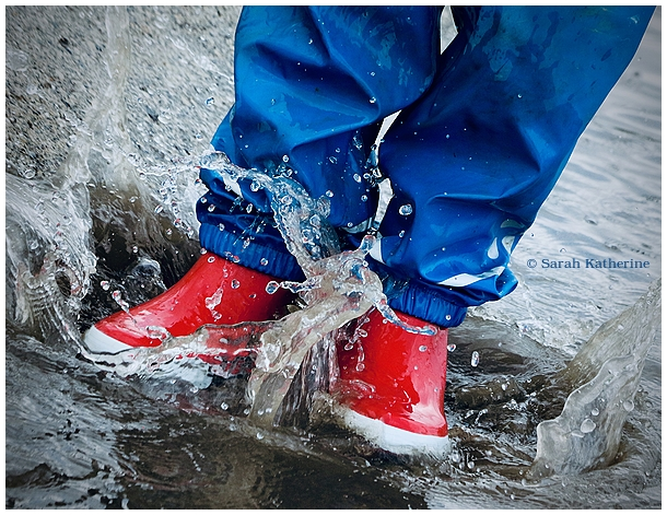 puddle, rain, wellies, boots, red, spring