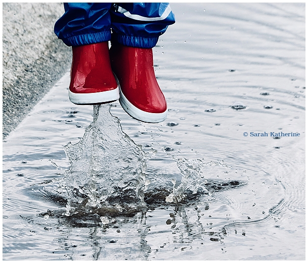 wellies, puddle, water, rain, spring