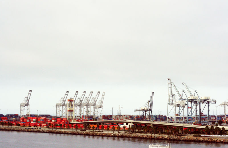 qinn los angeles port shipping cranes containers