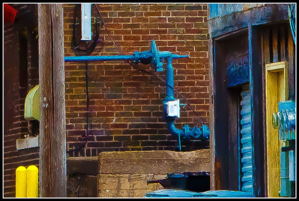BLUE PIPE, BRICK WALL & TELEPHONE POLE