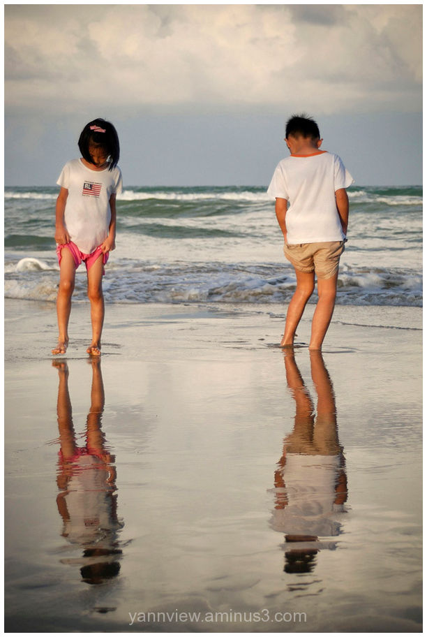 Kids at beach in Terengganu