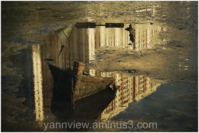 Abandoned sunken boat