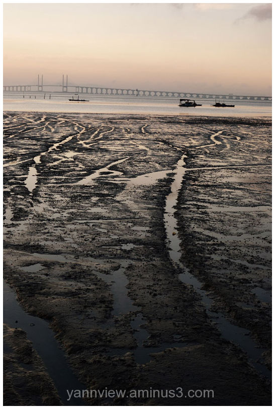 Low tide along coastal highway, Penang