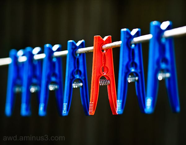 red among blue clothes pegs