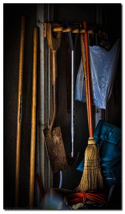 dark garden tools