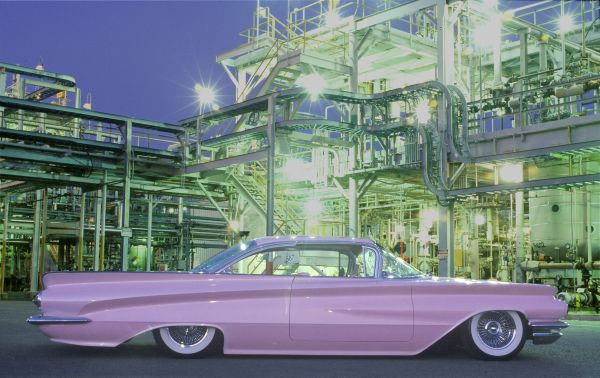 1960 lavender buick in industrial lights